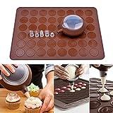Spécifications:  Matériel: Silicon  Chaleur gamme résistant: -40 - + 230 ℃ Couleur: Brun  Poids: 296g  Taille: 38.3x28.5cm (Tapis à Macarons)  11x4.5cm (Outil de buse)   Package:  1 x Tapis à Macarons  1 x Outil de buse decorative