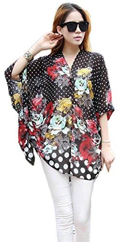 Smile YKK Femme Veste avec V Col Tops Floral Gros Taille Noir