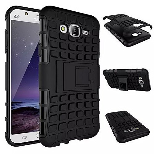 Defender Hybrid [Military Grade Drop Protection] Kickstand Back Case Cover for Samsung Galaxy J2 - 6 [ 2016 Edition ] - Black