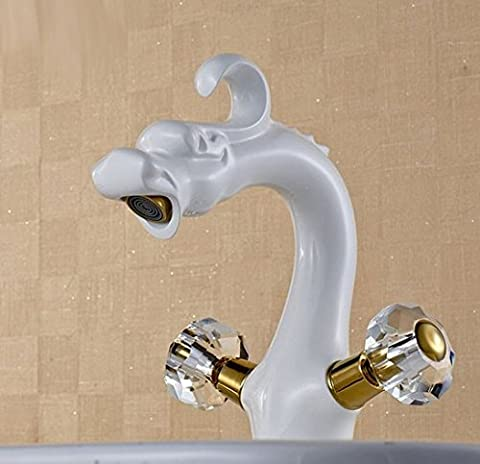 Gowe Blanc Peinture lavabo robinet à levier simple trou robinet mitigeur avec double poignées cristal