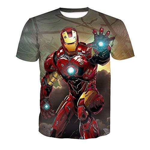 3D T-Shirt Unisex HD Gedrucktes Rundhalsausschnitt Lässig Mit Print Kurzarm Top Iron Man M (Iron Kostüm Paare Man)