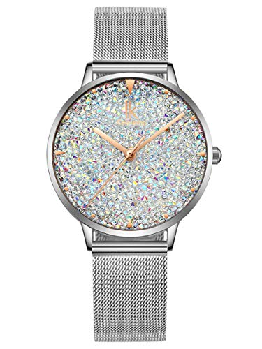 Alienwork Damen-Armbanduhr Quarz Silber mit Milanaise Mesh-Armband Edelstahl Weiss Strass-Steinen Glitzer elegant