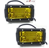 #6: AllExtreme 7 Inch 72W CREE LED Fog Light Cube LED Pod Work Light for Cars Off Road Truck 4WD SUV ATV Waterproof IP68 6000K 9-24V Flood Light (Pack of 2 Yellow)