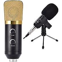 Gearmax® Micrófono de condensador de grabación Cardioid Studio dinámico micrófono con soporte antigolpes Ideal para radio Studio, de voz-más de sonido Studio
