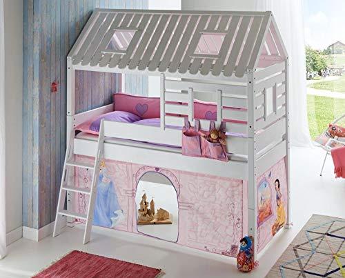 Froschkönig24 Hochbett Tom´s Hütte 2 Kinderbett Spielbett Bett Weiß Stoffset Cinderella, Matratze:ohne
