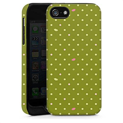 Apple iPhone 5s Housse Étui Protection Coque Points Vert Motif Cas Tough brillant
