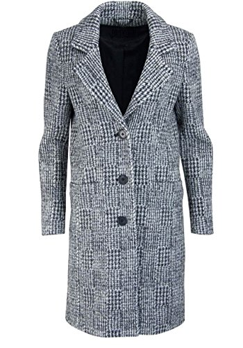 drykorn mantel damen Drykorn Langarm Mantel Reverskragen geknöpft Struktur grau/schwarz Größe S
