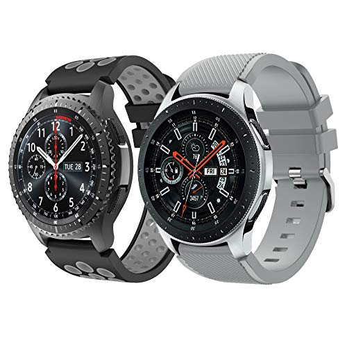 YaYuu Gear S3 Frontier/Classic Armband 22mm Ersatz Uhrenarmband Weiches Silikon Sportarmband for Samsung Galaxy Watch 46mm/Moto 360 2nd Gen 46mm Smart Watch(2 Stück) - 46 Silikon