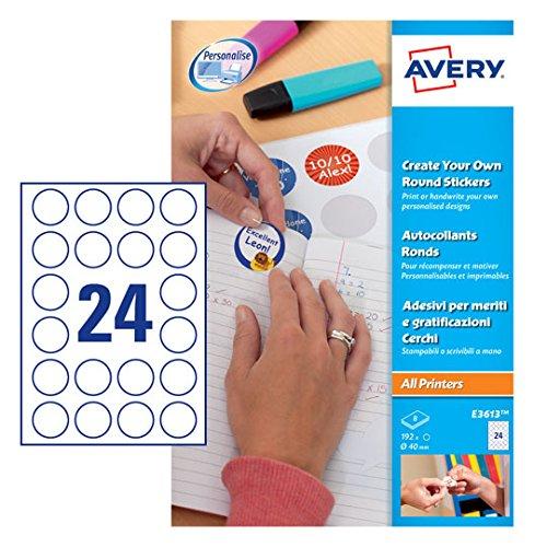 3 Sticker zum Selbstdrucken, Ø 40 mm, 8 Bögen/192 Etiketten, weiß (Avery-etiketten-kreis)