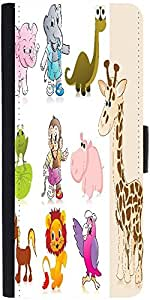 Snoogg set of animal with background Graphic Snap On Hard Back Leather + PC Flip Cover LG Nexus 5