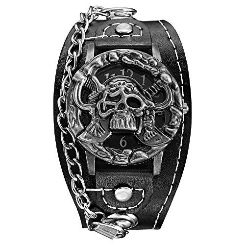 BOBIJOO Jewelry - Reloj De Metal De La Pulsera De Cuero De Imitación Negro Pirata Gótico Biker Triker Rocker Cráneo