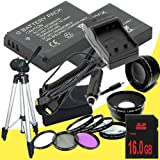Two Canon EOS M 18 MP CMOS Mirrorless Digital SLR Camera LP-E12 Lithium Ion Replacement Battery + External Rapid Charger + 16GB SDHC Class 10 Memory Card + 43mm 3 Piece Filter Kit + Full Size Tripod + 58mm Macro Close Up Kit + Wide Angle / Telephoto Lense