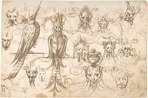 The Poster Corp AndrŽs de Melgar - Studies for Grotesque Masks and Birds (recto); Candelabra Grotesques with Ewers and Vases (verso) Kunstdruck (45,72 x 60,96 cm) Ewer-vase
