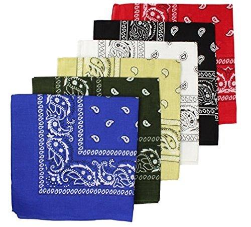 BOOLAVARD 100% Baumwolle, 1er 6er, oder 12er Pack Bandanas mit original Paisley Muster | Farbe nach Wahl Headwear / Haar Schal Ansatz Handgelenk Verpackungs Band Kopf Bindung (Schwarz, Rot, Blau, Weiß, etc.) (6er Gemischt Sortierung 2)
