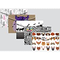 A4+ Foolscap Stud Wallets Fashion Animal Designs - Pack 5