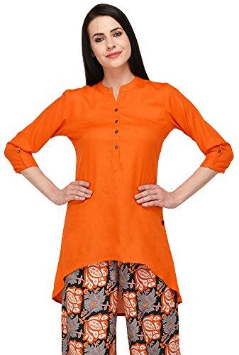 Pistaa Black Solid High Low Hem Short Kurti with Plus Size (Orange,...