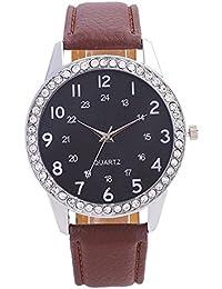 Kinlene Hermoso reloj niña de moda reloj simple Señoras correa de cuero reloj para regalo (Coffee)