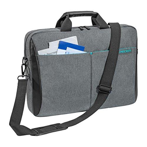PEDEA Lifestyle Notebooktasche für 17,3 Zoll (43,9cm) mit Zubehörfach/Schultergurt, grau