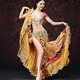 MoLiYanZi Bauchtanz Set Kostüm Für Frauen Handarbeit Wulstige Stickerei Bauchtanz-Kleid Performance Tanzbekleidung 3 Stück, Gold, l