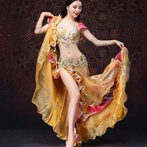 MoLiYanZi Bauchtanz Set Kostüm Für Frauen Handarbeit Wulstige Stickerei Bauchtanz-Kleid Performance Tanzbekleidung 3 Stück, Gold, ()