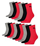 PUMA Unisex Short Crew Socken Sportsocken mit Frotteesohle 15er Pack (39 - 42, black / red)