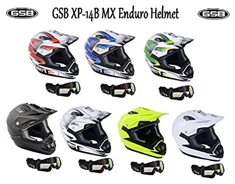 GSB xp-14b MX Moto Off Road adulte Casque de motocross de moto quad ATV Enduro sport ECE ACU application Casque Blanc/Argent + x1 pour masque de ski