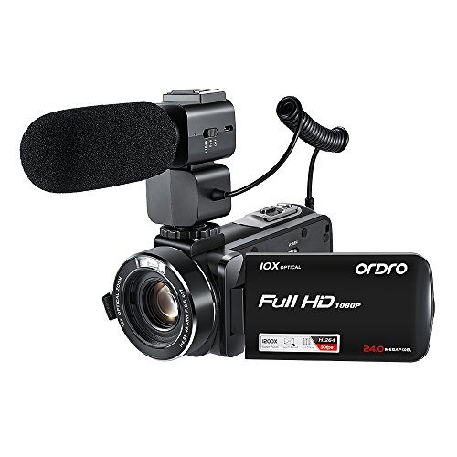 ORDRO Full HD 1920x1080P 30FPS 10X Optischer Zoom 120X Digital Zoom Camcorder mit Externem Mikrofon 24MP H.264 Videokamera Fernbedienung Stativ (Meer-sd-karte)