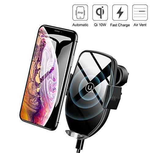 USAMS Qi Handy Halterung für Auto, Wireless Charger Kfz Handyhalterung Lüftung, Induktion Autohalterung Induktiv Handyhalter für iPhone XS Max/XR/X/8 Plus, Samsung Galaxy S9+/S8/S7/S6 Edge/Note 8/5