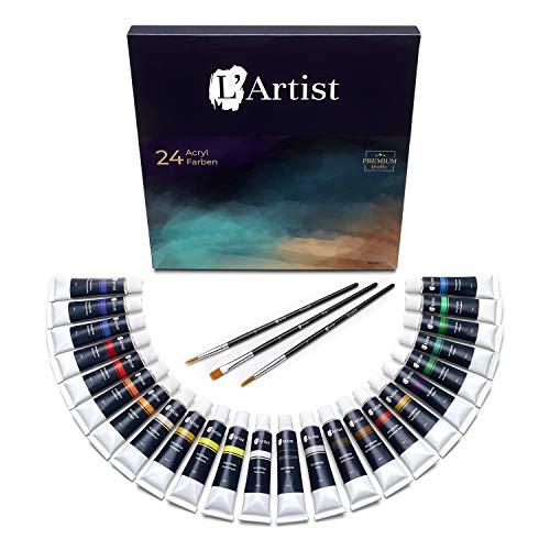 L\'Artist Acrylfarben | Set mit 24 Tuben + 3 Gratis Pinsel | 12ml Malfarbe pro Tube | Premium Künstlerfarben