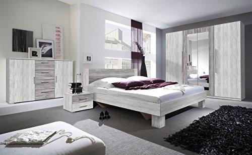 Schlafzimmer-Set VERA Schwebetürenschrank Kommode Nachttisch Bett (Bett 180 x 200 cm, arktis kiefer hell / arktis kiefer dunkel)