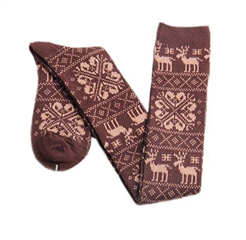 en Weihnachten Schnee Rotwild Knit Über Knie Socken Winter Kostüm Schenkel Hohe Strümpfe Kaffee ()