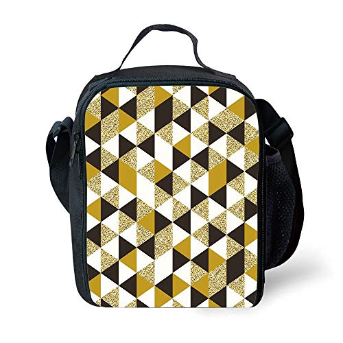 MLNHY School Supplies Gold and White,Bronze Geometric Triangles Pattern in Different Sides Image,Yellow White and Black for Girls or Boys Washable