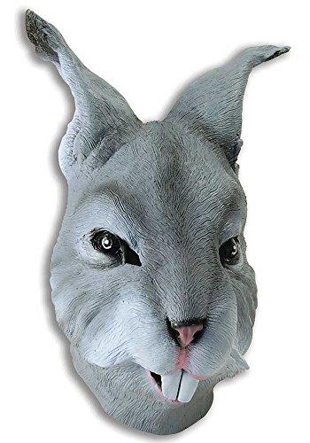 ren Gummi Voll Gesichtsmaske Animal Halloween Kostüm Kleid Outfit Zubehör - Grau Hase (Latex Halloween-outfits)