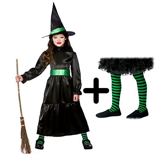 Wicked Witch + Tights Girls Halloween Fancy Dress Fairytale Kids Childs  Costume (5-7 Years). by mfd c9e843748