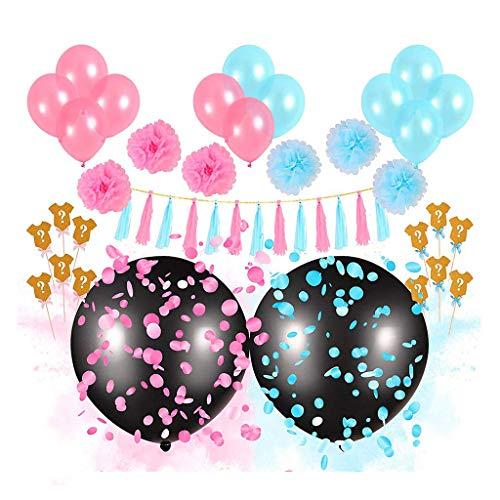 Amycute Boy oder Girl Banner und Geschlecht Zeigen Ballons Set, 34 Stück Geschlecht Reveal Ballon, Banner, Ballons, Quaste Garland, Cupcake Toppers.