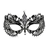 Crown Laser Cut Metall Damen Maskerade Maske Mardi Gras Maske (Schwarz)
