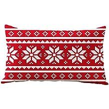 Fundas de Cojines de Navidad,Vovotrade 30 * 50CM Rectángulo algodón linter funda de almohada (Q)