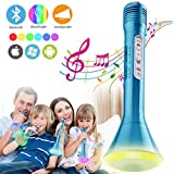 Bluetooth Karaoke Mikrofon,Portable Drahtlose Handmikrofon Lautsprecher Player Kabellos Mikrofon, Mikrofon Kinder für KTV Musik singen spielen, Unterstützung iPhone Android IOS Smartphone PC iPad-Blau