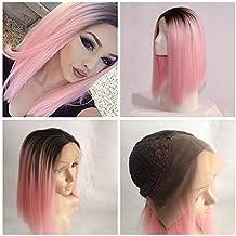 cupidlovehair corto Bob estilo recto Natural negro Ombre encaje sintético peluca delantera de color rosa 12inch