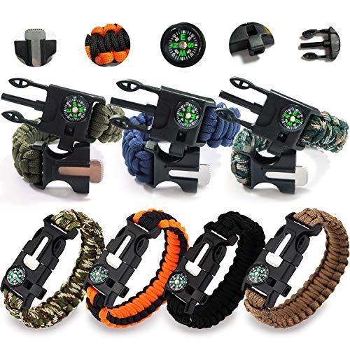 Imagen de rekyo 7pcs pulsera de la supervivencia de, brazalete de paracord, pulsera de emergencia al aire libre, kit de engranaje de la supervivencia con iniciador de fuego pedernal, raspador