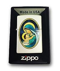 Zippo Custom Lighter - Mother and Child - Regular White Matte