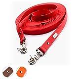 PetTec Schleppleine 10m aus Trioflex™, Rot, Wetterfest, Wasserabweisend, Robuste Hundeleine