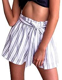 952ded05824df Pantalones Aladin Verano Joven Mujer Rayas Clásico Especial Verticales con  Cinturón Único Pantalones Deportivos Cortos Vintage