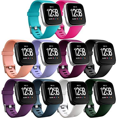 HUMENN Für Fitbit Versa Armband/Fitbit Versa Lite Armband, Classic Weiches TPU Sports Ersetzerband Verstellbares Zubehör Uhrenarmband für Fitbit Versa Smartwatch Klein 10pack