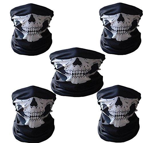 Ailiebhaus 5 Stücke Schädel Maske Skeleton Sturmmaske Schlauchtuch Halstuch Skull Face