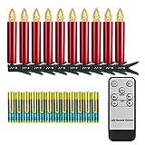 FreePower 10 Weihnachtskerzenlichter, LED Rote Kerze Mit Batterien und Timer, Fernbedienung, blinkend, passend für Weihnachtsdekoration,Wohnkultur