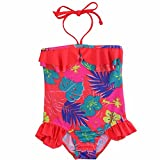 YiZYiF Enfants Fille Bébé Maillots de bain 1 Pièce Barboteuse Florale Froufrous Bikinis 1-8 Ans