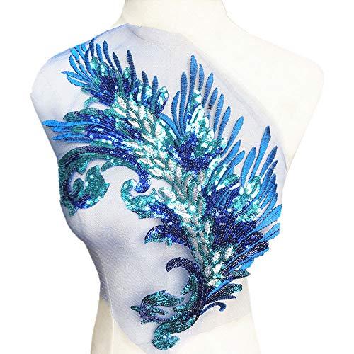 n Feder Stickerei Blume Stoff Spitze Applikation Netz Trim Nähen Motiv Hochzeit Kleid Braut DIY Handwerk blau ()