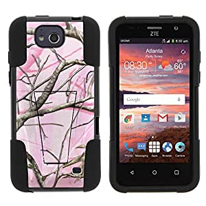 ZTE Maven Z812 Case, Full Body Fusion STRIKE Impact Kickstand Case with Exclusive Illustrations for ZTE Maven Z812, ZTE Overture 2 Z813, Z810, ZTE Fanfare Z791, Z792 (AT&T, Cricket) from MINITURTLE | Includes Clear Screen Protector and Stylus Pen - Pink Hunter Camouflage