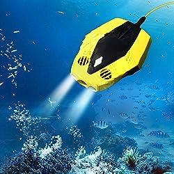 Mini Robot sous-Marine Drone 1080P Caméra HD Submersible Télécommande 15M Profondeur Convient pour Snorkeling Pêche Jaune